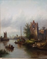 View of a old town with harbour