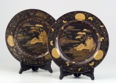 Pair of Japanese Lacquered Plates