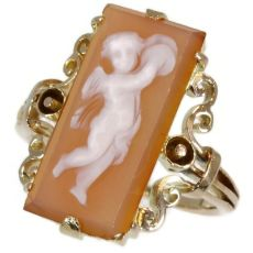 Victorian antique ring pink gold stone cameo angel by Unknown Artist