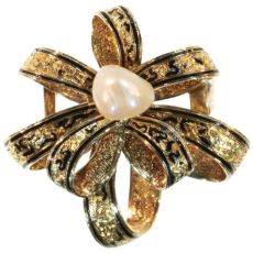 Antique gold brooch with natural pearl and enamel by Unknown Artist
