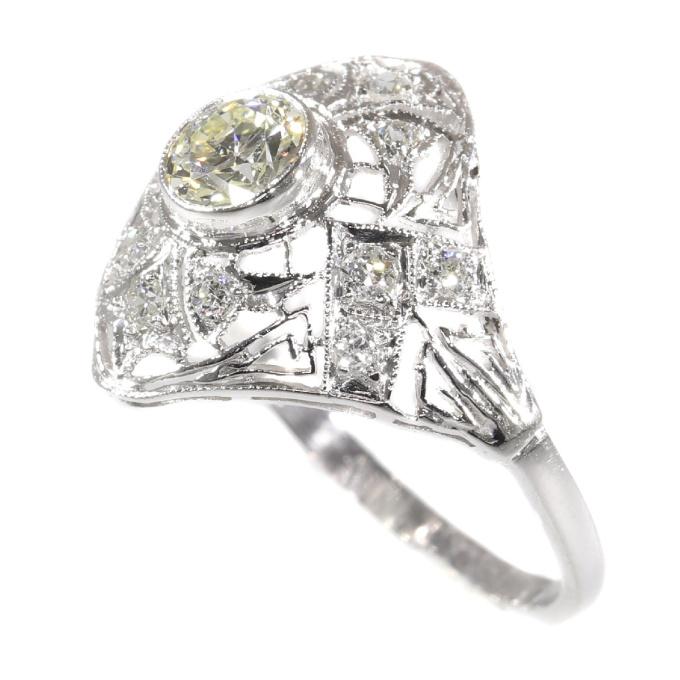 Estate Edwardian Art Deco platinum diamond engagement ring by Unknown Artist