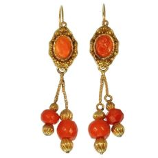 Georgian coral cameo beaded dangle earrings, 18kt yellow gold by Unknown Artist