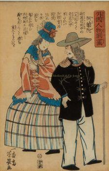 BUITENLANDERS IN JAPAN, ENGELS ECHTPAAR  by Yamaguchiya Tobei