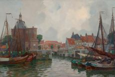 Activity in the harbour of Enkhuizen by Hendrik Jan 'Henk' Wolter