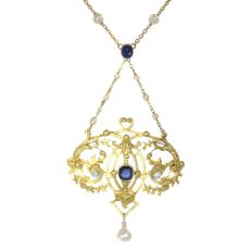 Late Victorian French gold pendant on chain with diamonds sapphires and pearls by Unknown