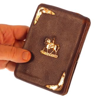 Dutch antique leather wallet with gold fittings and horse back riding motif by Unknown Artist