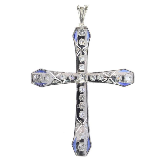 Art Deco platinum diamond and sapphire cross by Unknown Artist