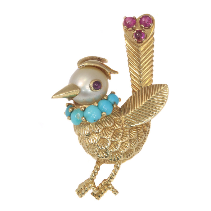 Vintage fanciful Fifties gold bejeweled bird brooch by Unknown Artist