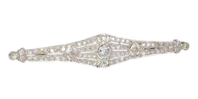 Vintage platinum Art Deco diamond bar brooch with 71 diamonds by Unknown