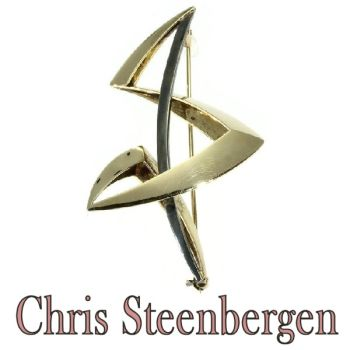 Artist Jewelry by Chris Steenbergen gold and silver brooch by Unknown Artist