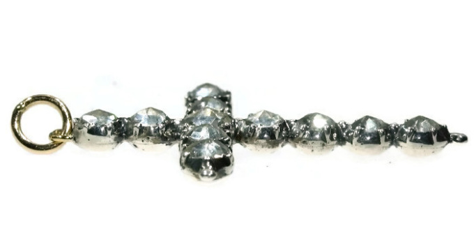 Antique Georgian silver cross set with strass stones by Unknown Artist