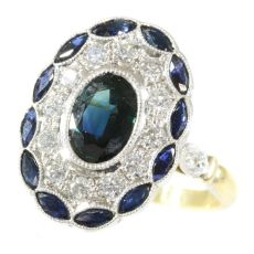 Stylish Art Deco style diamond and sapphire engagement ring by Unknown Artist