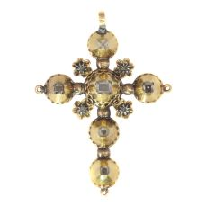Antique Georgian gold diamond cross with old mine brilliant cut diamonds by Unknown