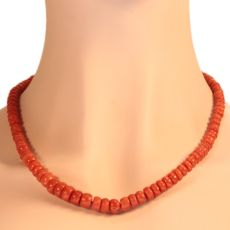 Antique red coral bead necklace with gold closure by Unknown Artist