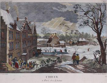 Winter landscape  by  Benedict Winckler after David Teniers