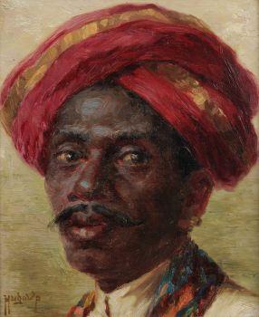 """A portrait of a """"Madras boy"""" by HUGO VILFRED VON PEDERSEN"""