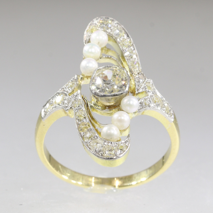 Magnificent Art Nouveau diamond and pearl ring by Unknown Artist