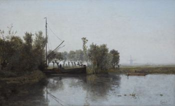 A peat cutter with his barge in a polder landschape by Paul Gabriel
