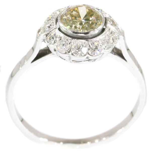 Fifties diamond engagement ring - white gold - champagne colored brilliant by Unknown