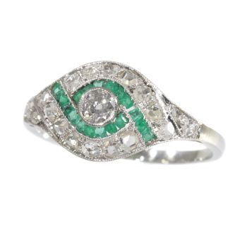 Vintage Art deco diamond and green stone ring by Unknown Artist