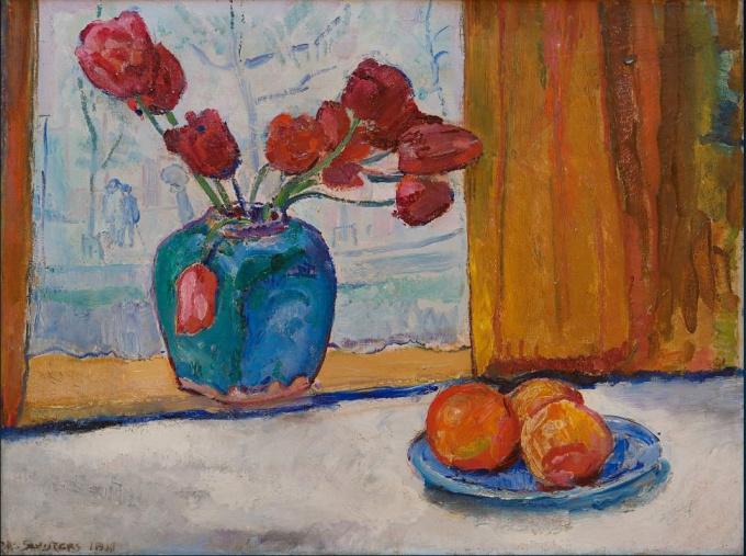 Red tulips in a blue gingerpot by Jan Sluijters