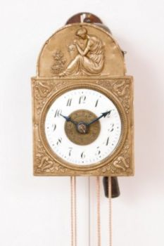A rare German Black Forest miniature Sorg wall clock with alarm, circa 1840 by Unknown Artist