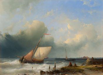 Ships sailing off the coast by Abraham Hulk