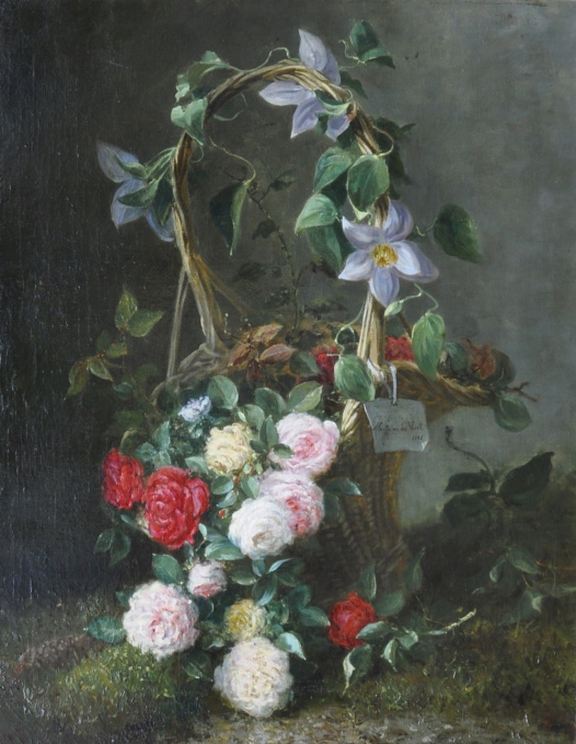 Roses in an ornamental basket by Maria Van der Voort in de Betouw