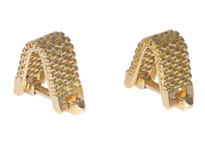 Vintage Fifties sturdy gold cufflinks by Unknown Artist
