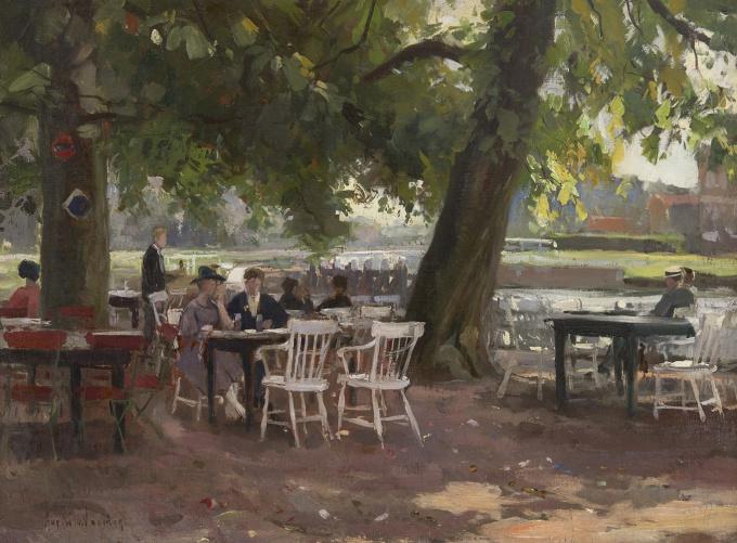 On a waterfront terrace by August Willem Van Voorden