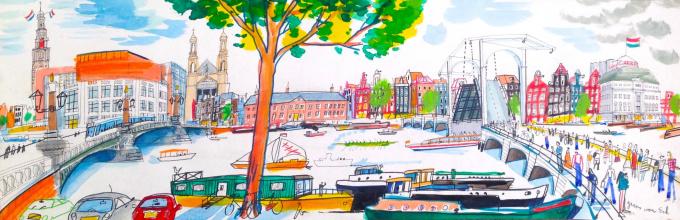Magere Brug, Amsterdam by Guus van Eck