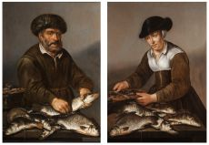 A Fisherman and Fisherwoman with fish on a table by Pieter de Putter