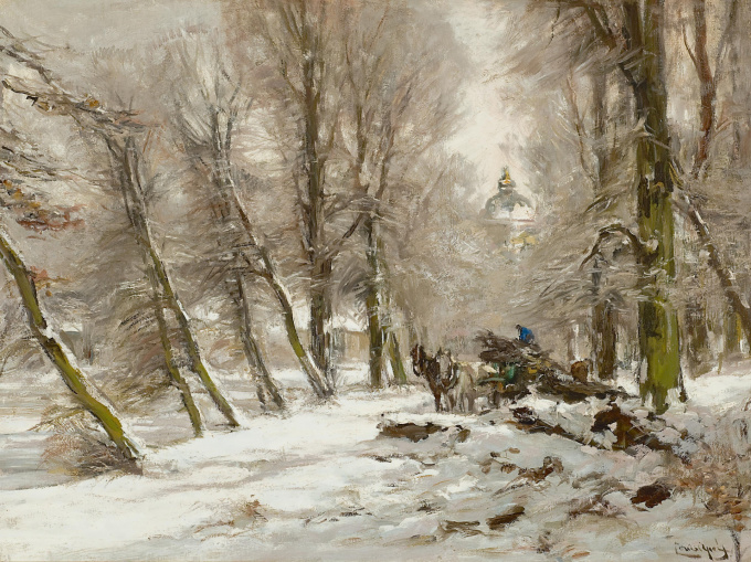 Winter landscape with Huis ten Bosch in the background by Louis Apol