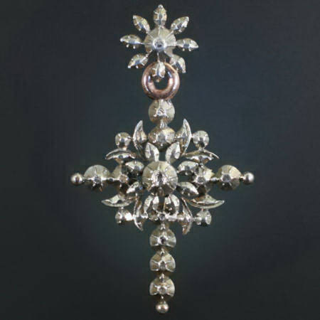 Victorian Flemish cross with rose cut diamonds by Unknown Artist