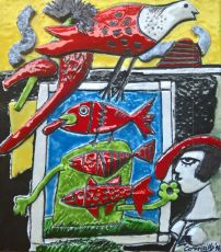 Drie vissen en een dame