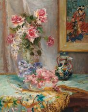 Flowers in a vase with at the background a Japanese print by Alexander Tielens