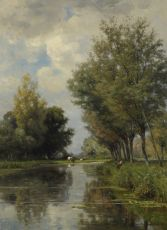 Anglers in a polder landscape by Jan Willem van Borselen