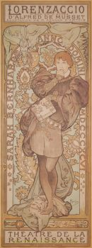 Lorenzaccio (Sarah Bernhardt)  by  Alphonse Mucha