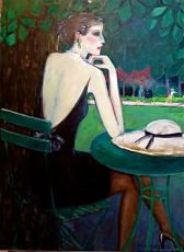 Lady in the Park, Sitting at a Round Table by Jean Pierre Cassigneul