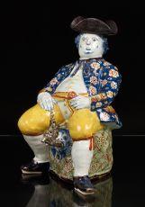 Dutch Delftware Flask Modelled as a Dutchman, Delft