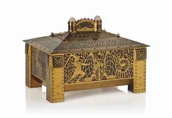 A fine amboyna and brass casket by Firm Erhard & Sohne, Schwäbisch Gmünd