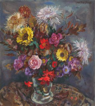 Bouquet with roses, sunflowers and chrysanthemums in a glass vase by Jan Sluijters