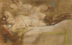 Reclining nude in front of a mirror by Han van Meegeren