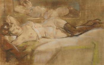 Reclining nude in front of a mirror by Han van Meegeren