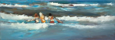 Vriendinnen in de golven  by Dinie Boogaart