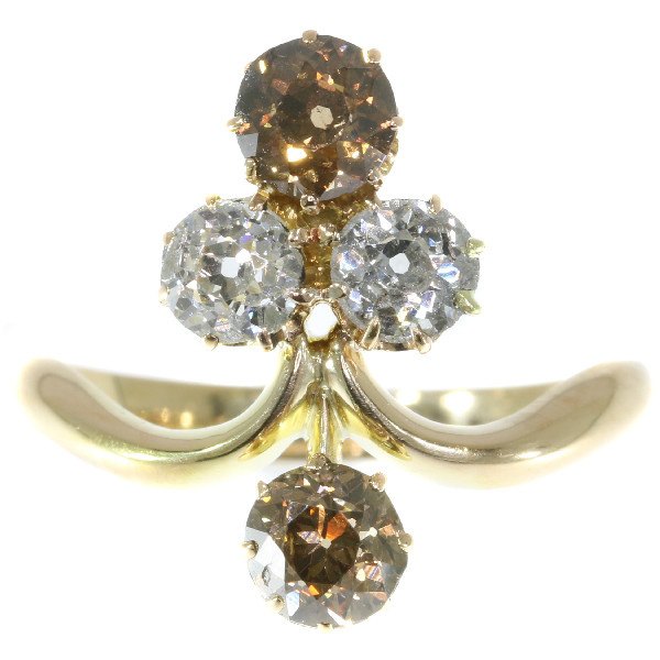 """Remarkable Victorian diamond engagement ring with Aigrette"""" design"""" by Unknown Artist"""