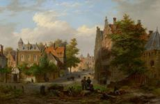 A view of a Dutch town by Bartholomeus Johannes van Hove