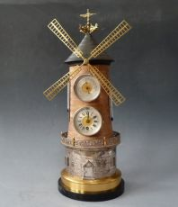 An excellent windmill clock, by  Guilmet, France circa 1890.