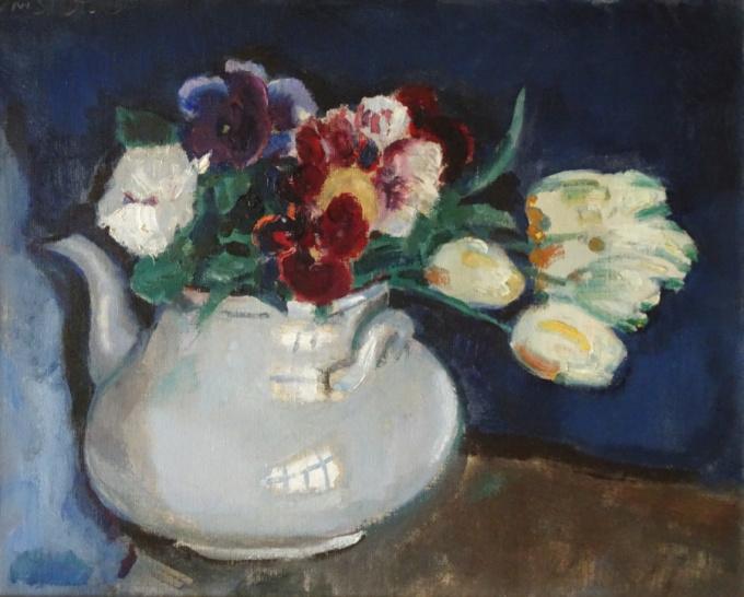 Stil life with flowers in a teapot by Jan Sluijters
