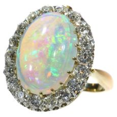 Enchanting Victorian interchangeable ring necklace with opulent opal and diamonds by Unknown